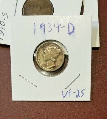 1934-D MERCURY DIME  VF Very Fine  *NICE COIN*
