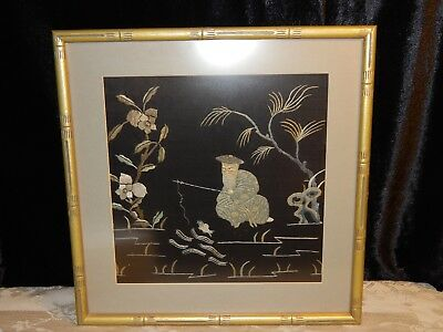 Asian Silk Embroidery Framed Japanese ? Chinese Old Man Fishing on Black Silk