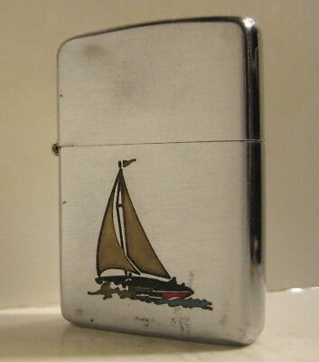 1949-1951 Patent 2032695 Zippo Sports Series Sailboat  Original Nickel Insert