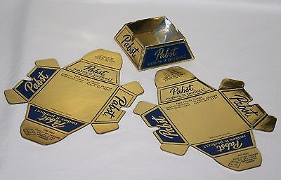 """2 Vintage Advertising Pabst """"Makes It Perfect"""" gold folding Ashtrays 2 3/4"""" NOS"""