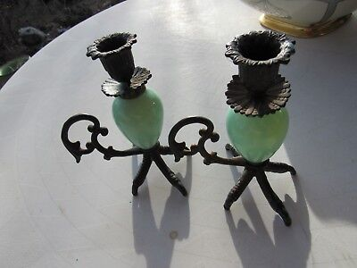 Antique Cast Iron Claw and Green Jadeite or Vaseline Glass Candle Holders
