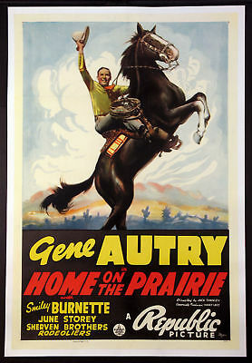 Home On The Prairie Gene Autry Western 1939 1-Sheet Linenbacked