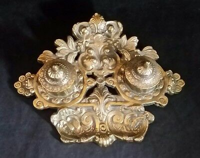 Antique Victorian Brass Inkwell Cast Double Hinged with Inserts 10.25x7.25""
