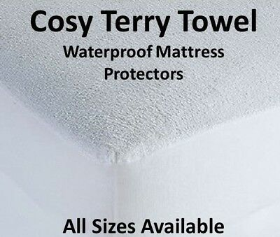 Terry Towel Waterproof Mattress Matress Protector Cot Single Double King Super