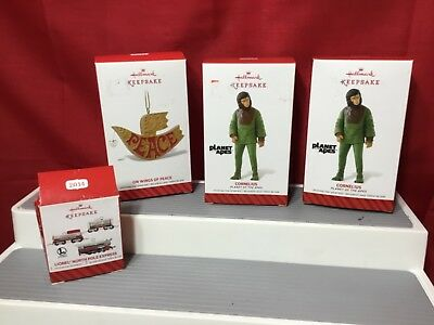 Lot of 4 Hallmark Christmas Ornaments 2014. Cornelius, Lionel, Wings  of Peace