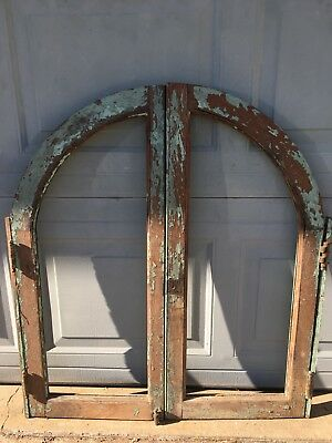 Antique Vintage Arched Architectural, Green On Oak Wood Cabinet Doors