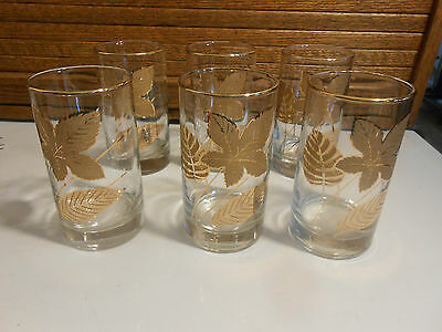 """6 Vintage Libbey Clear Drinking Glasses w / Gold Leaves and Trim, 12 ounce / 5"""""""