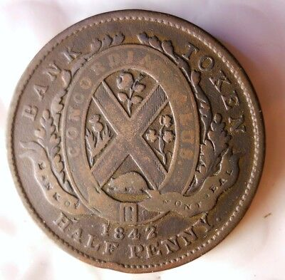 1842 CANADA (MONTREAL) 1/2 PENNY - High Quality Vintage Coin - + Value- Lot #J20