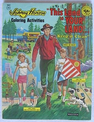 Vintage 1970's JOHNNY HORIZON This Land is Your Land COLORING BOOK Anti-Litter