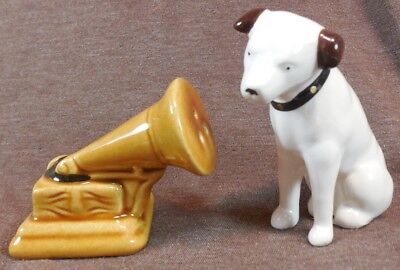 RCA Victor NIPPER DOG His Masters Voice PHONOGRAPH HORN Salt & Pepper Shaker Set