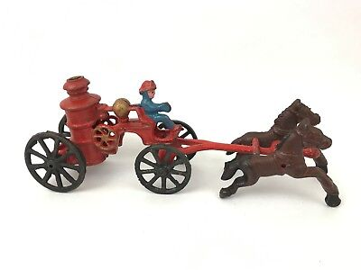 Vintage Metal Fire Steam Engine Wagon Horse Pulled Iron Cast Metal Toy