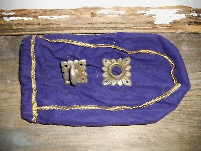 Vtg Antique Old Ornate Fancy Twist Turn Thumb Door Knob With Rosettes Backplates