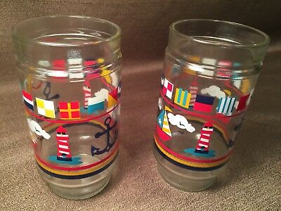 2 Rare Vintage Anchor Hocking Colorful Sailboat Lighthouse Nautical Tall Glasses