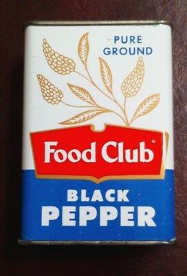 Vintage 1950's Food Club Black Pepper Spice Tin Can Chicago Ill.