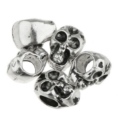 50pcs Antique Silver Ghost Skull Skeleton Pendant Charms Jewellery Making