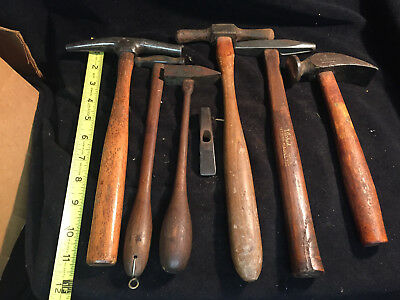 Lot of 7 Blacksmith Silversmith Dixon Hammers Metal Working Farrier Forge Lot A