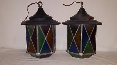 Vintage Pair Of Stained Glass Multi-Colored Electric Hanging Lamps-Rare!
