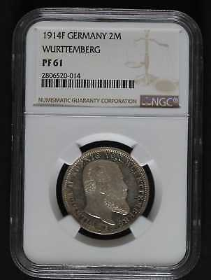 1914F Germany 2 Marks Wurttemberg Ngc Pf61 Low Mintage Proof Coin!!!!