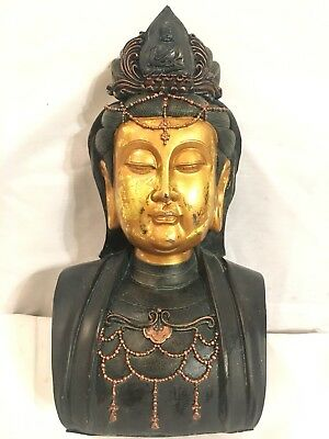 Old China Buddhism  wood Carved Buddha head bust statue