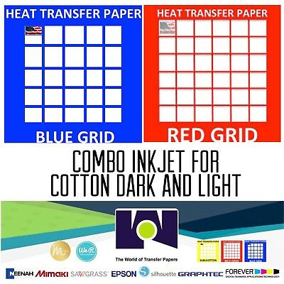 InkJet T-Shirt HEAT TRANSFER PAPER Combo 100 Sh Each  Dark & Red Grid 8.5x11""