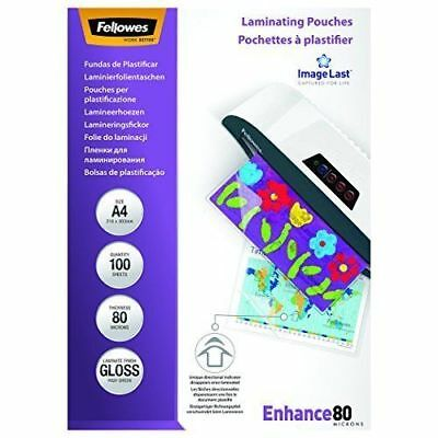 NEW Fellowes 100 Pack Gloss Enhance80 A4 Laminating Pouches *FREE AU SHIPPING!*