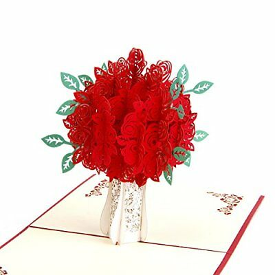 3D Pop Up Greeting Card Red Roses Flowers Love Mothers Day Birthday Women Gift