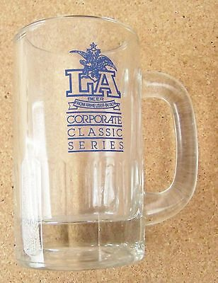 LA Beer from Anheuser Busch Corporate Classic handled clear glass tankard mug