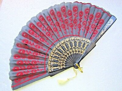 Ladies Hand Fan  Decorative Red Black Gold  Perfect