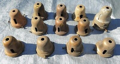 Antique bell lamp shade holders sconce or hanging light socket covers mixed lot