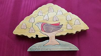 Vintage Hand Carved Wood Puzzle Partridge in a Pear Tree Artist Signed 1991