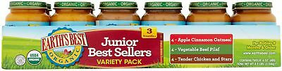 Earth's Best Organic Junior Best Sellers Variety Pack Baby Food, 6 Oz, 12 Count