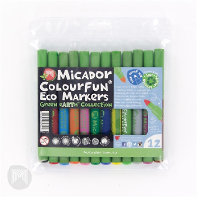 Micador Colourfun Markers Green Earth Collection 12 Pack MAW750