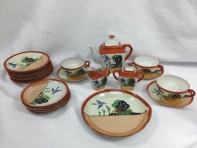VINTAGE  Japan Hand Painted Lusterware CHILDS TEA SET Bluebird House