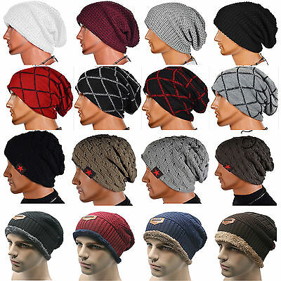 Mens Womens Knit Beanie Baggy Cap Slouchy Warm Winter Crochet Ski Casual Hats