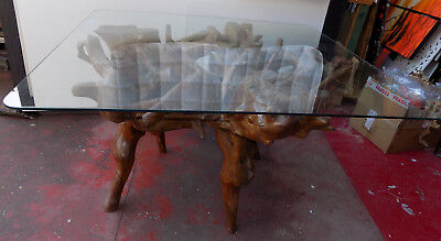 Dining table made with Root of teak cm 130x115x82 briar glass gifts