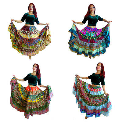 OFFER  Tribal Gypsy Belly Dance Sari Peasant Boho Skirt Banjara Bauchtanz Röcke