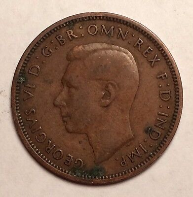 Great Britain Half Penny 1938 Georgivs Vi D Omn Rex F D Ind Imp Foreign Coin