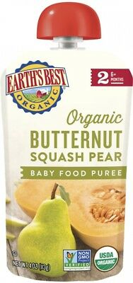 Earth's Best Puree Organic Butternut Squash and Pear 4oz - Stage 2 Baby Food Of