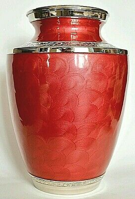 TOP QUALITY BRASS !! Adult Cremation Urn for Ashes - Gorgeous Rose Red