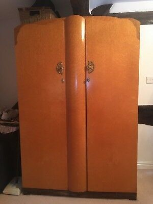 Double Art Deco Birds-Eye Maple Walnut Wardrobe
