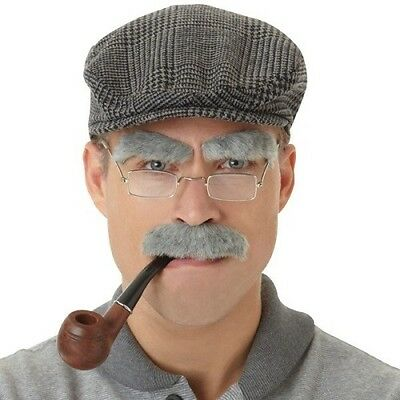 Grandad Fancy Dress Eyebrows Old Man OAP Grey Facial Hair and Pipe choices