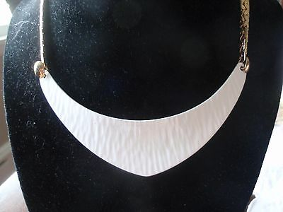 Vintage Napier NOS White Enameled and Gold-toned Collar Necklace