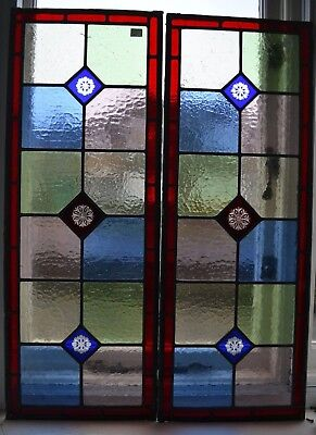 2 British leaded light stained glass window panels (possibly Victorian). R706