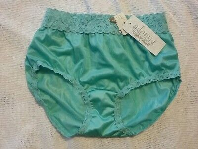 VINTAGE ADONNA MINT GREEN NYLON & LACE PANTY HIPSTER BRIEF Sz 5 NWT