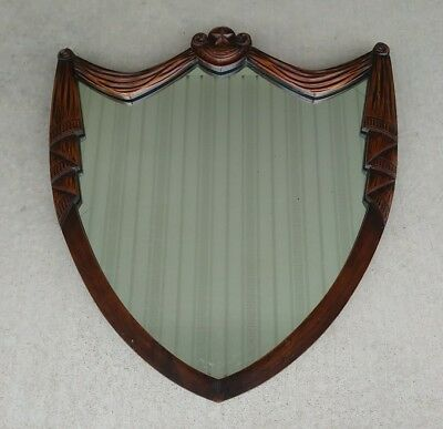 Antique Vintage Large Wall Shield Mirror Federal-Style Wooden Frame