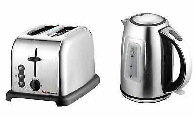 Electric Kettle & Toaster Set, Stainless Steel, Silver