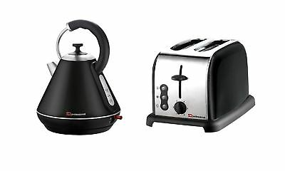 Electric Kettle & Toaster Set, Stainless Steel, Black