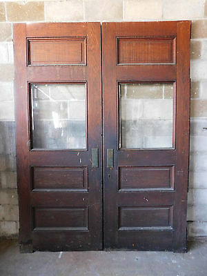 Antique Victorian Entry Doors - C. 1885 Butternut / Oak Architectural Salvage