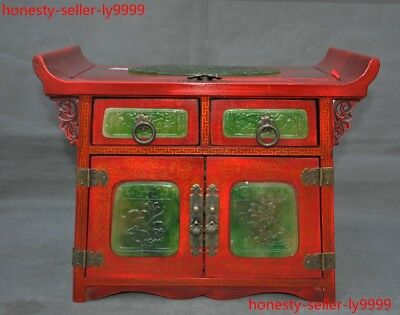 old China lacquerware wood inlay jade Dragon phoenix Cranes desk drawer cabinet