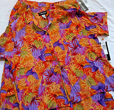 "Sag Harbor Blouse & Skirt  Set  "" Tropical "" NEW"